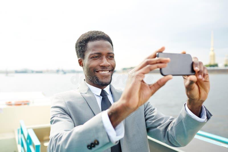 在旅行的Selfie 免版税库存图片