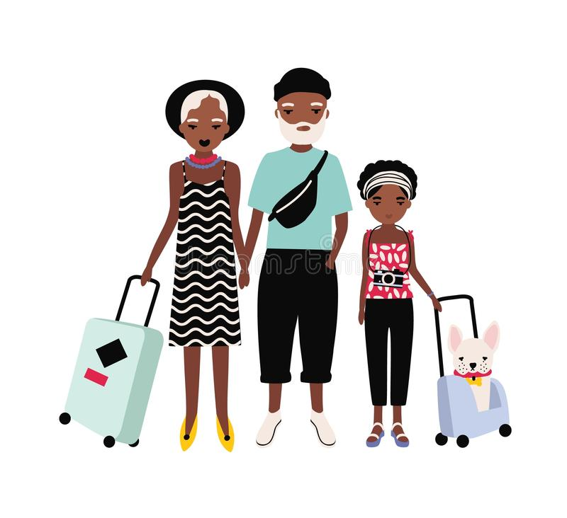 在旅途上的非裔美国人的家庭 母亲、的父亲和一起旅行的十几岁的女儿 父母和青少年的孩子 皇族释放例证