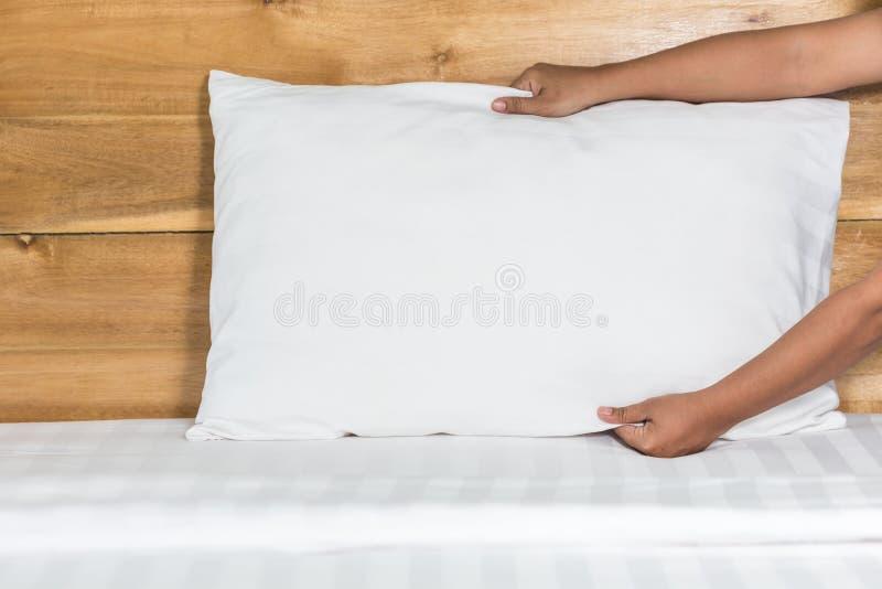 在旅馆客房递设定在床单的白色枕头 库存图片