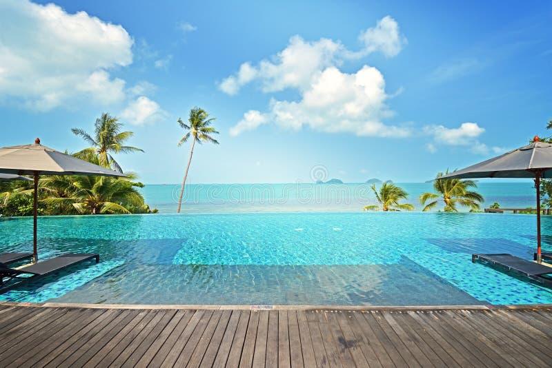 在旅馆手段的豪华游泳池与伞 图库摄影