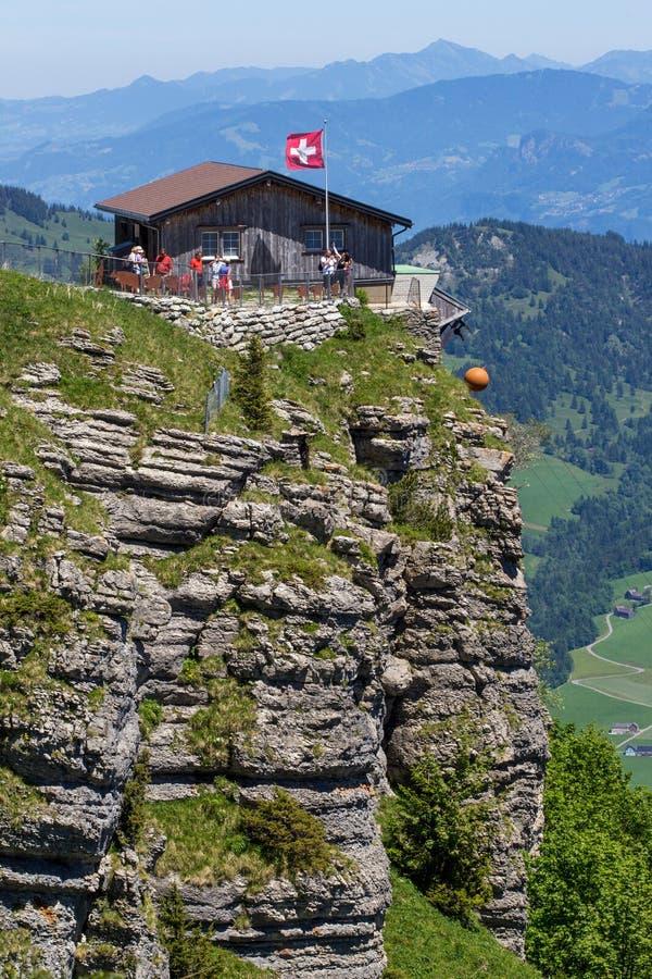在旅馆Berggasthaus,依本立,瑞士的观点 库存照片