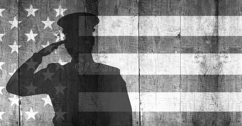 在旗子前面的退伍军人日战士 库存例证