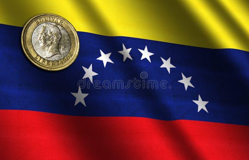 在旗子的委内瑞拉金钱 免版税库存图片