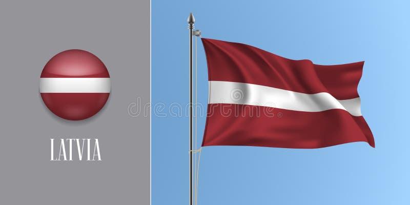 在旗杆和圆的象传染媒介例证的拉脱维亚挥动的旗子 向量例证