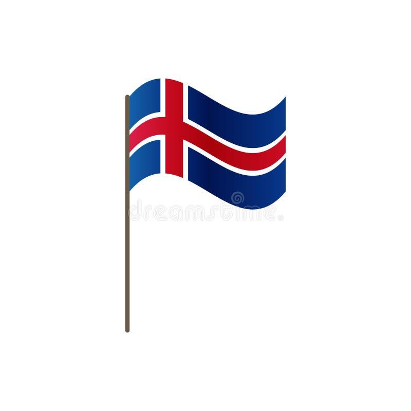 在旗杆的冰岛旗子 正确正式颜色和比例 挥动在旗杆的冰岛旗子,传染媒介例证是 皇族释放例证