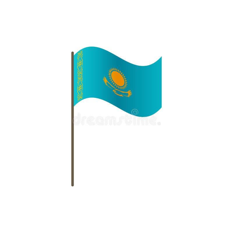 在旗杆的哈萨克斯坦旗子 正确正式颜色和比例 挥动在旗杆的哈萨克斯坦旗子,传染媒介illustrat 向量例证