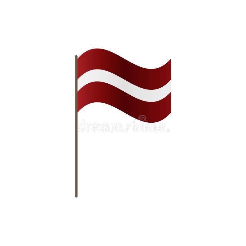 在旗杆的拉脱维亚旗子 正确正式颜色和比例 挥动在旗杆的拉脱维亚旗子,传染媒介例证isol 库存例证