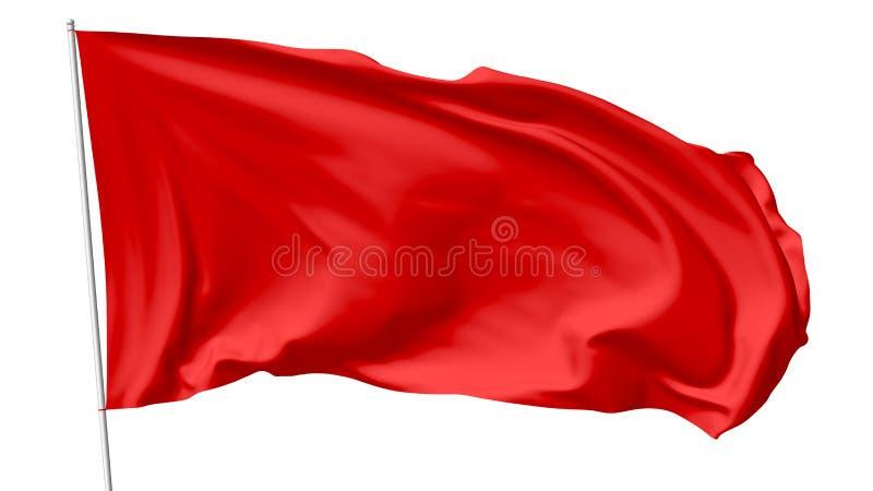 在旗杆的红旗 免版税库存图片