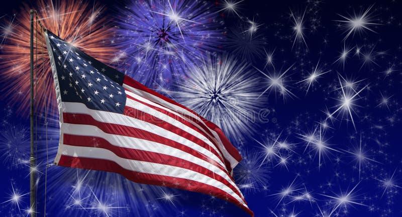 美国旗子烟花 免版税库存照片