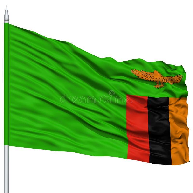 在旗杆的赞比亚旗子 免版税库存照片