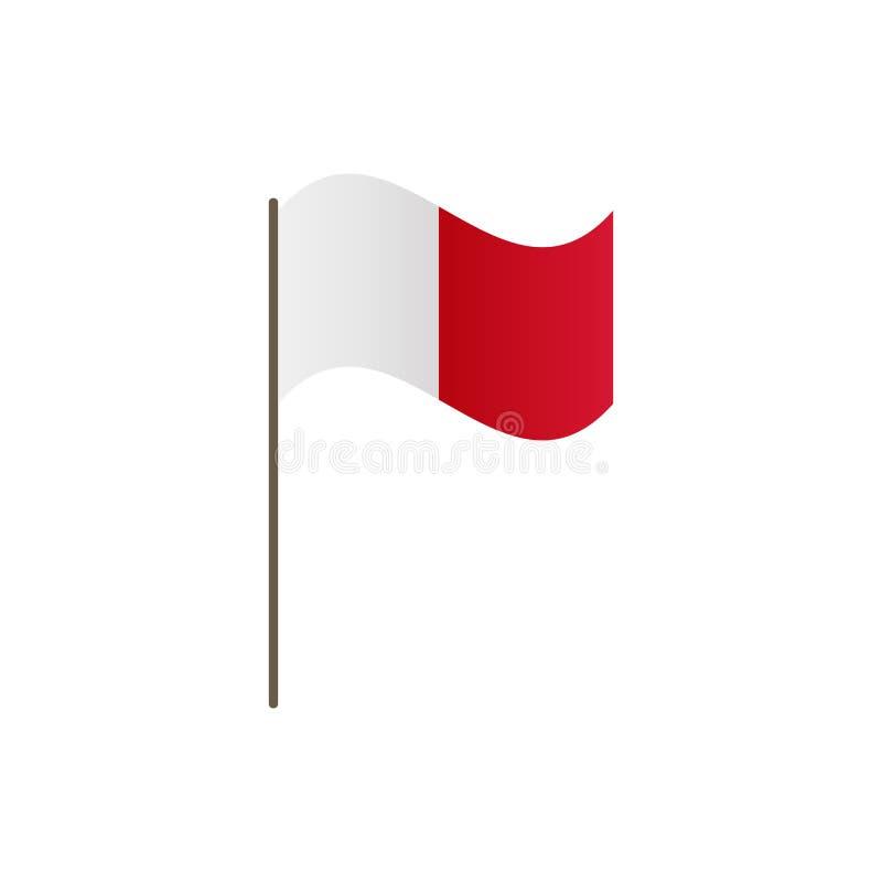 在旗杆的马耳他旗子 正确正式颜色和比例 挥动在旗杆的马耳他旗子,传染媒介例证isolat 皇族释放例证