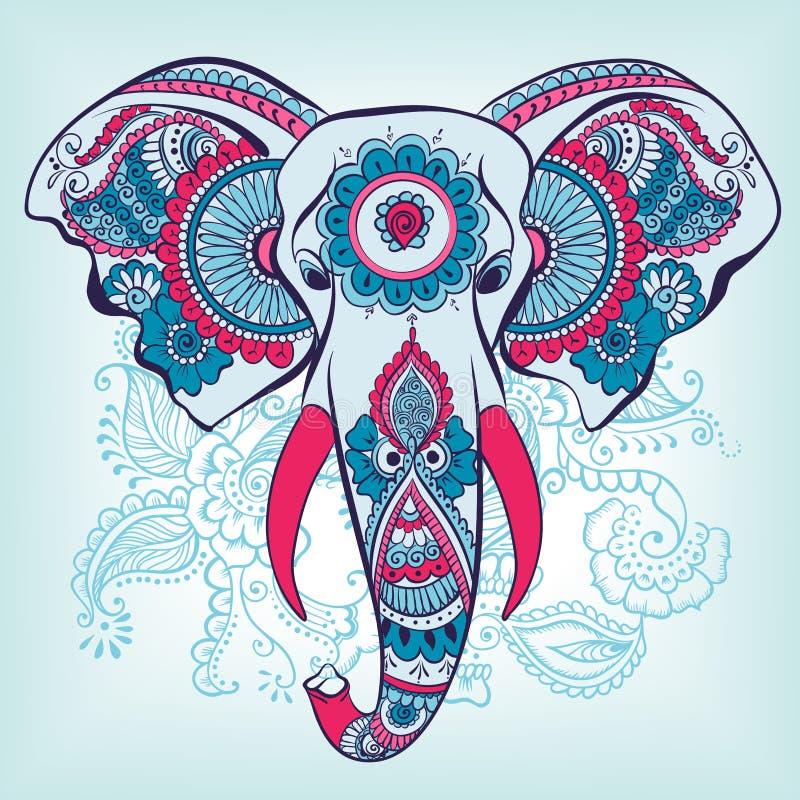 在无刺指甲花印地安人装饰品的传染媒介大象 皇族释放例证