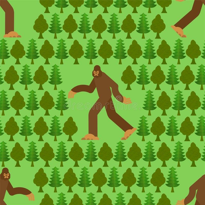 在无缝森林的样式的巨足兽 雪人和树背景 雪人装饰品 sasquatch?? 库存例证