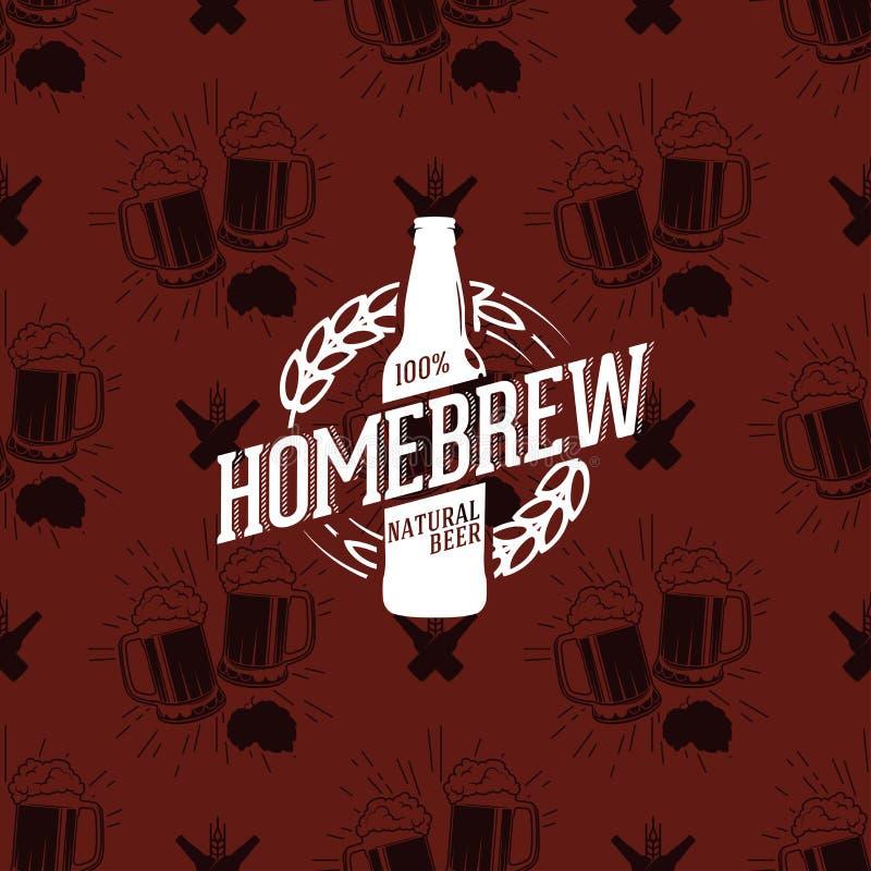 在无缝的样式使叮当响的杯的Homebrew商标啤酒,传染媒介例证 库存例证