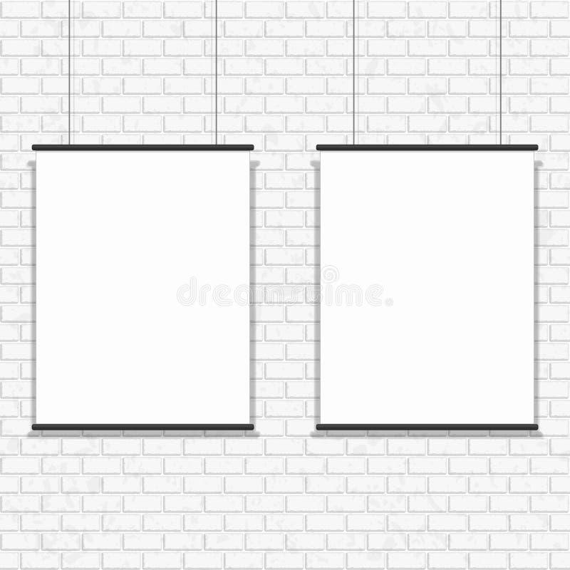 在无缝的砖墙上的空白的海报 向量例证
