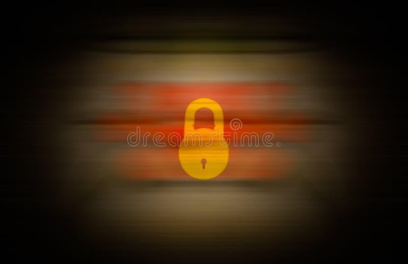 在无缝的背景合并的黄色锁 库存例证