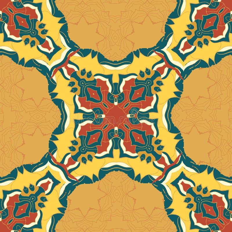 在无缝的背景的红色和黄色坛场装饰品 上色反重音疗法的装饰圆的装饰品 皇族释放例证