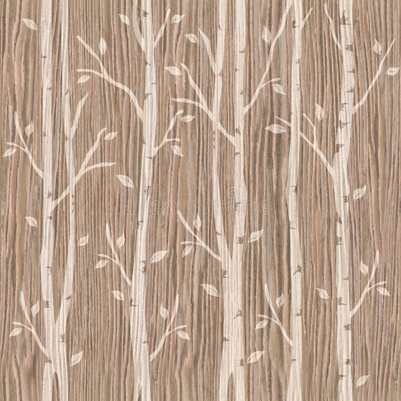 在无缝的背景-抨击的橡木凹线的装饰树 库存例证