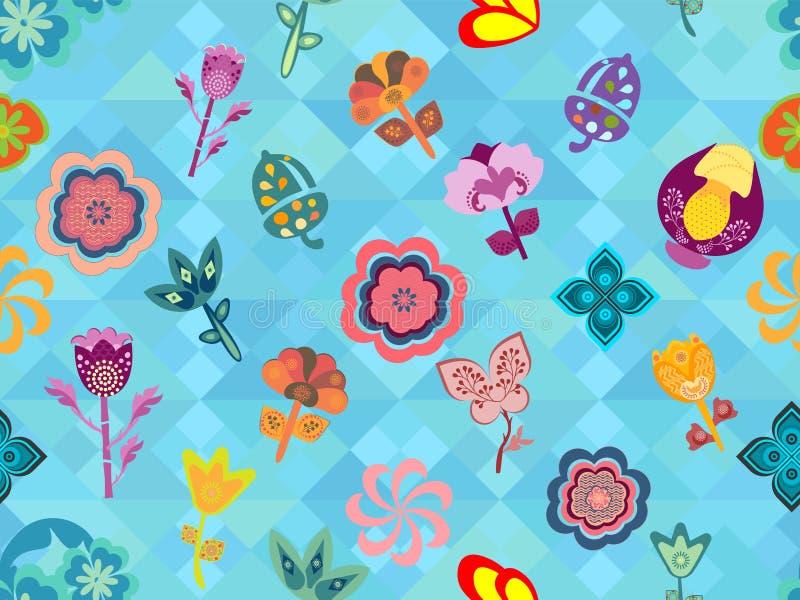 在无缝的蓝色几何纹理的五颜六色的异想天开的花卉样式瓦片 向量例证