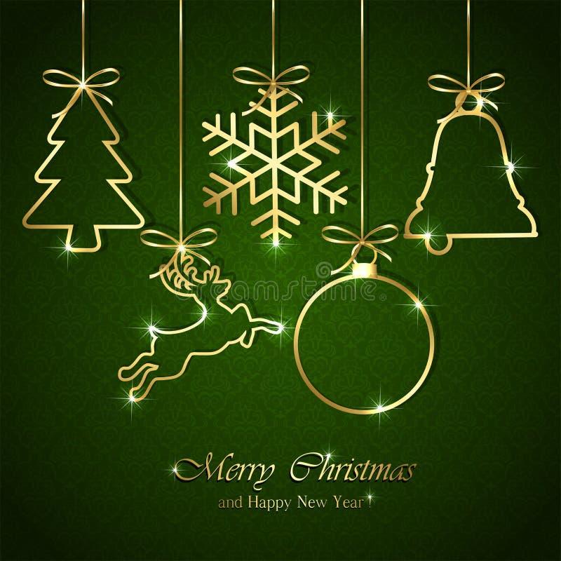在无缝的绿色背景的圣诞节元素 库存例证