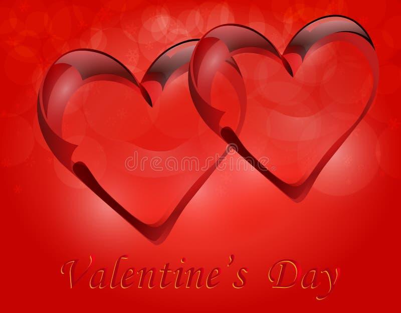 在无色水晶的两透明心脏 爱的符号 与题字的贺卡在情人节 库存例证