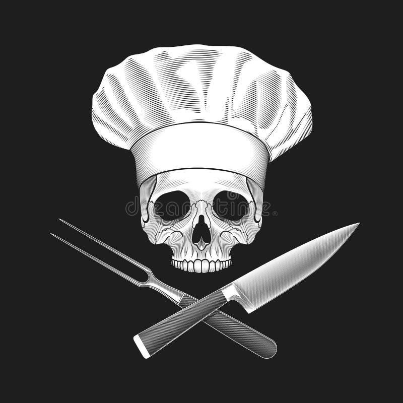 在无边女帽的头骨和横渡的刀子和叉子 库存例证