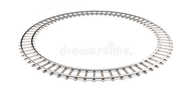 在无限形状的白色隔绝的铁路 库存例证