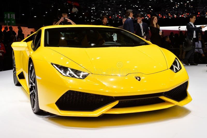 在日内瓦汽车展示会的Lamborghini Huracan  免版税图库摄影