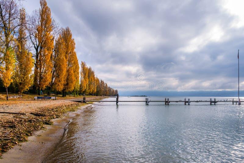 在日内瓦湖的一个五颜六色的秋季看法 库存照片