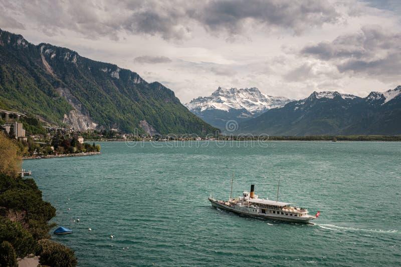在日内瓦湖的Italie火轮在洛桑在瑞士 免版税库存照片