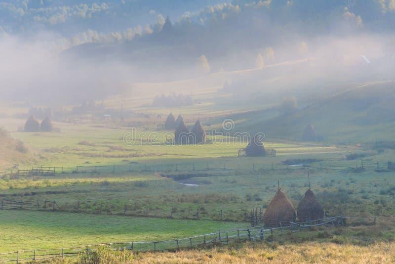 在日出光的美好的农村山风景与早晨雾 库存照片