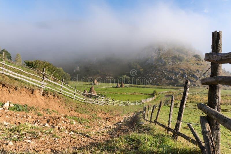 在日出光的美好的农村山风景与早晨雾 免版税库存照片