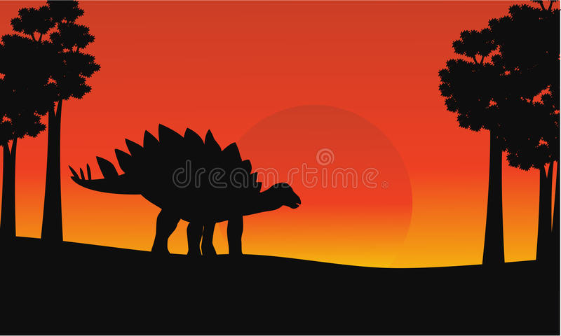 在日出恐龙剑龙风景 库存例证