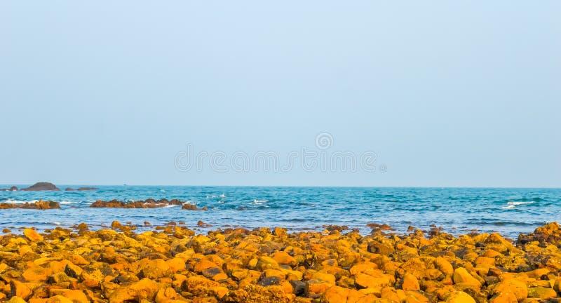 在日出或日落日落的狂放的空的热带海滩岸 免版税库存照片