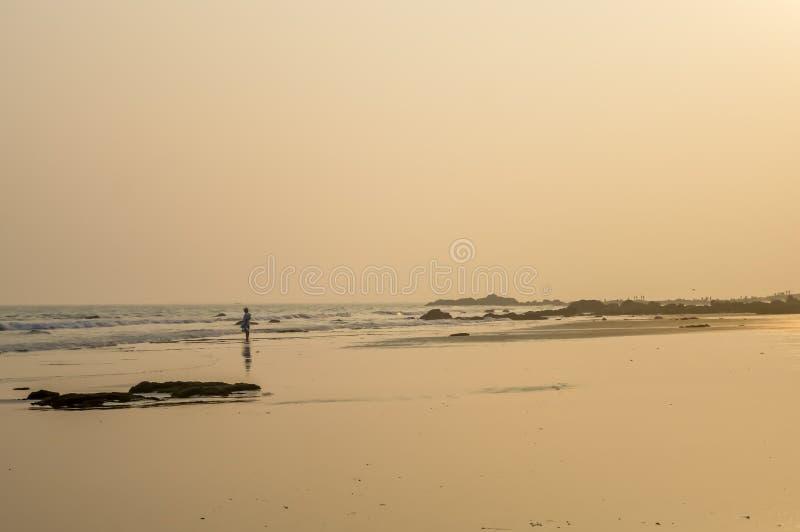 在日出或日落日落的狂放的空的热带海滩岸 图库摄影