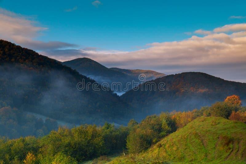 在日出期间的美丽的秋天早晨山谷 自然的横向 免版税库存照片