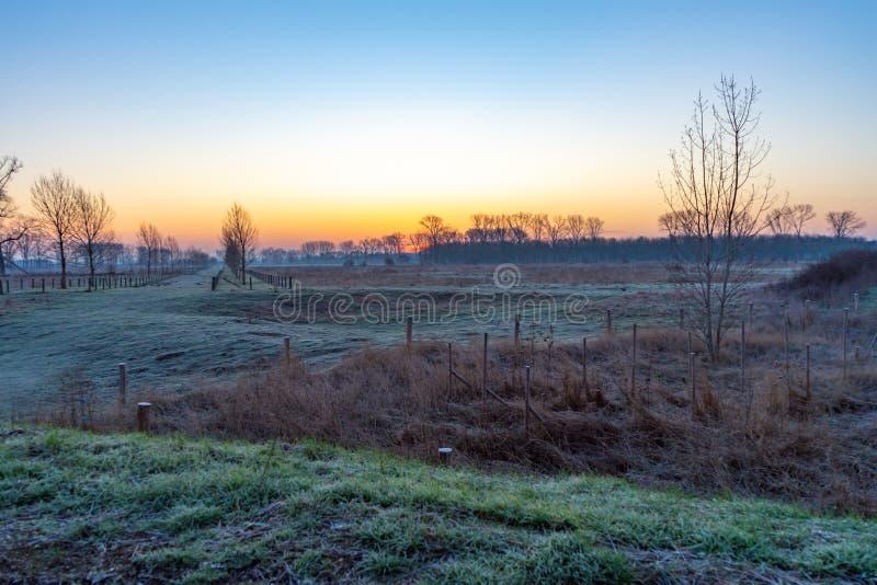 在日出期间的荷兰冬天风景 免版税库存照片