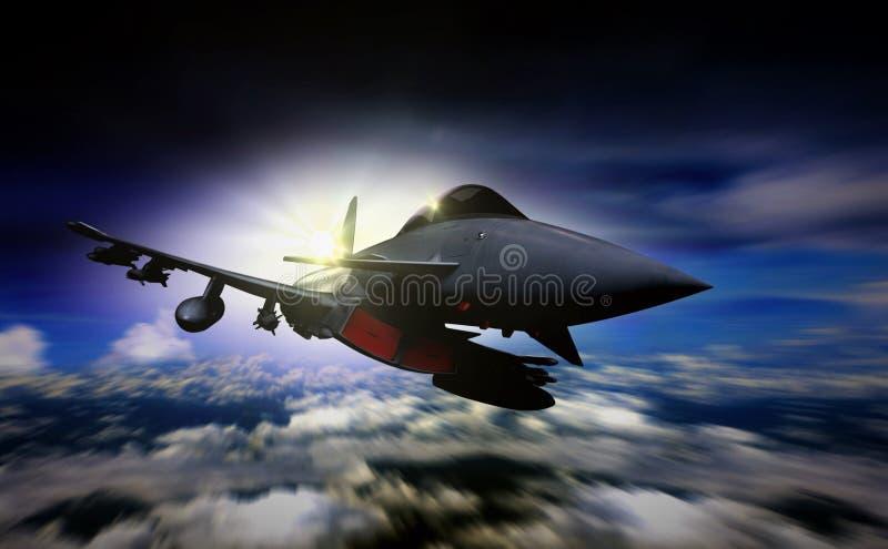 在日出期间的军事喷气机飞行与迷离行动 免版税库存图片