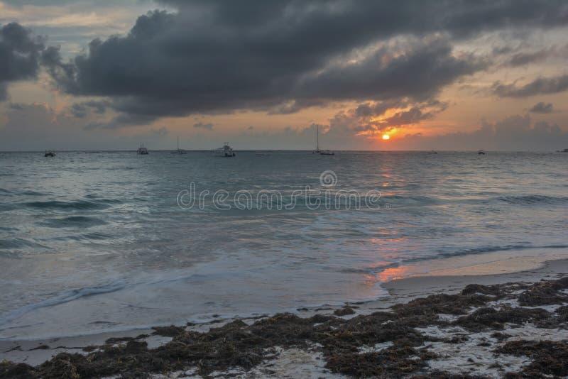 在日出的大西洋 库存图片