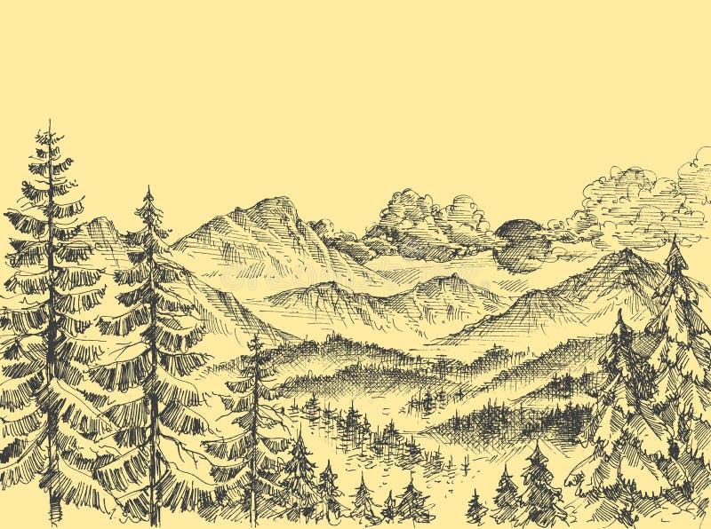 在日出的山 向量例证