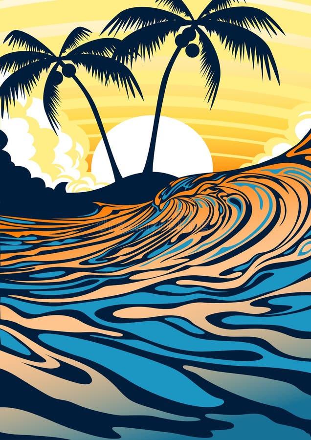 在日出的海浪海滩 库存例证