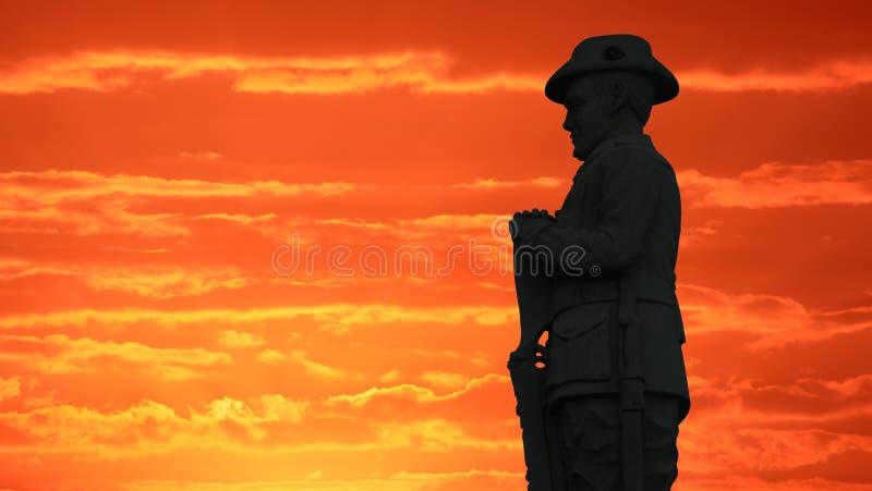 在日出的澳大利亚挖掘者 库存图片