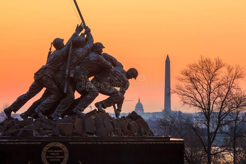 在日出的硫磺岛纪念华盛顿特区美国 免版税库存照片