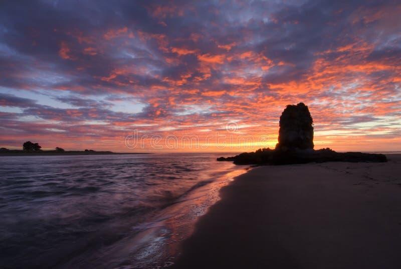 在日出的粗毛岩石,克赖斯特切奇,新西兰 免版税库存照片