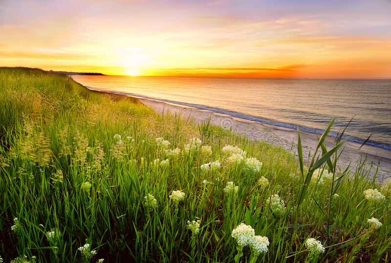 在日出的美丽的海海湾 我 库存照片