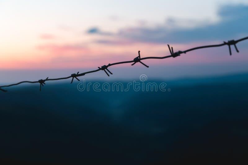在日出的背景的铁丝网在山的 清早紫色蓝色 免版税库存照片