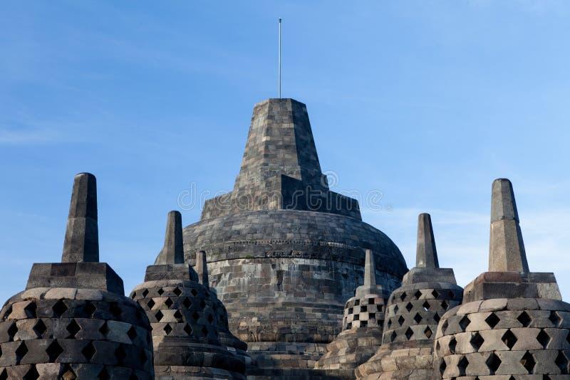 在日出的顶面婆罗浮屠寺庙在日惹, Java,印度尼西亚 库存照片