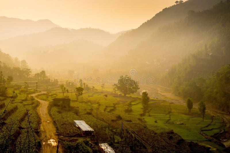 在日出的Huwas谷尼泊尔 库存图片