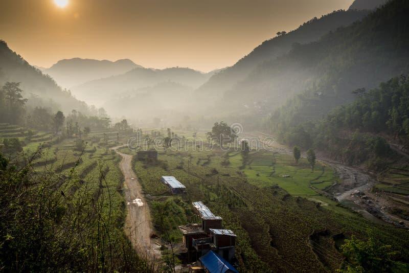 在日出的Huwas谷尼泊尔 免版税库存图片