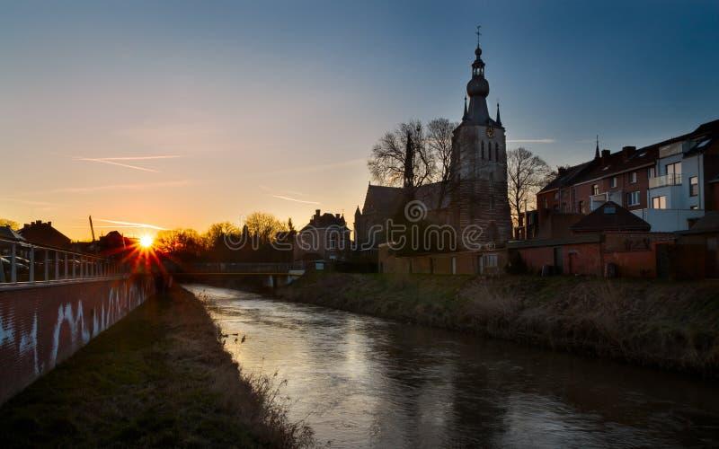在日出,比利时之后的阿尔斯霍特 库存照片